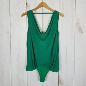 Do & Be | Green Tank Onesie Body Suit Blouse Small